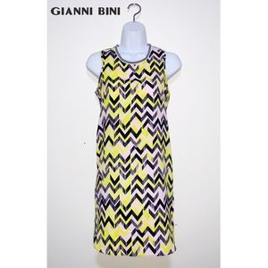 GIANNI BINI Neon Yellow Black Chevron Mini Dress